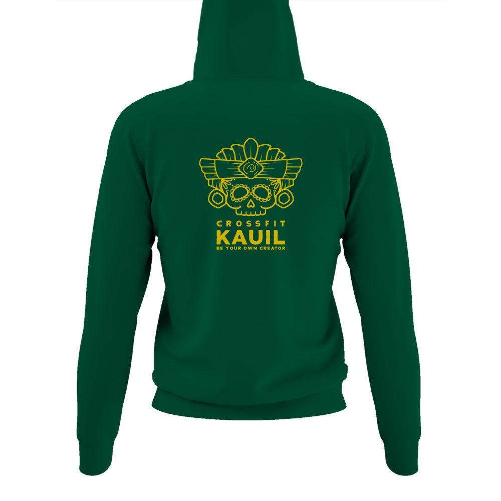 DamenHoody Bottlegreen2 gold back