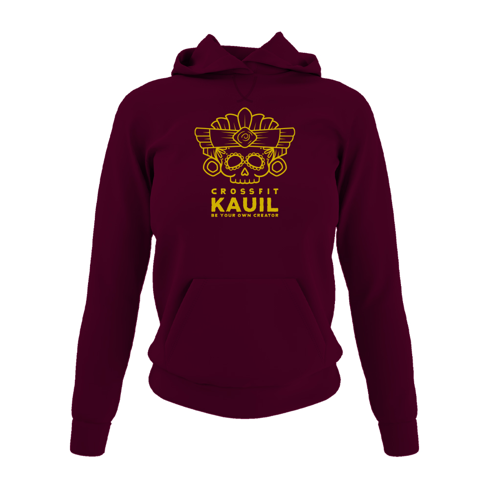 DamenHoody Burgundy1 gold front