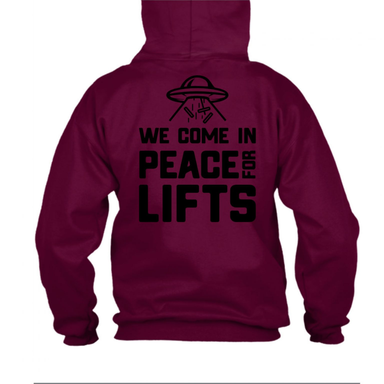 hoodie ufo burgundy back