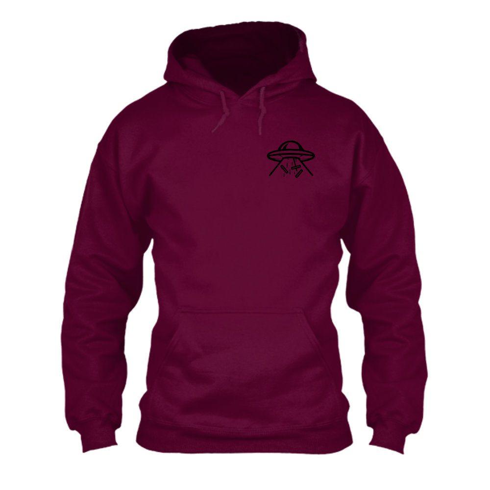hoodie ufo burgundy front