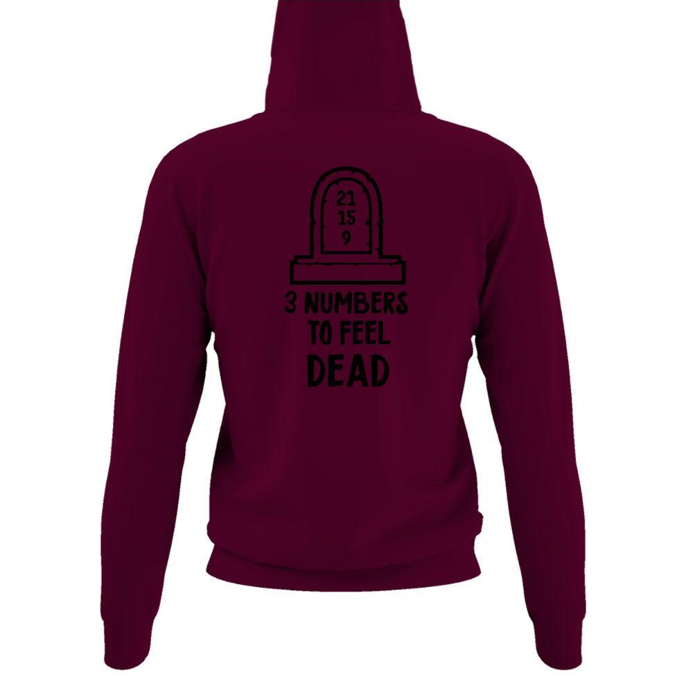 3numbers damen hoodie burgundy back