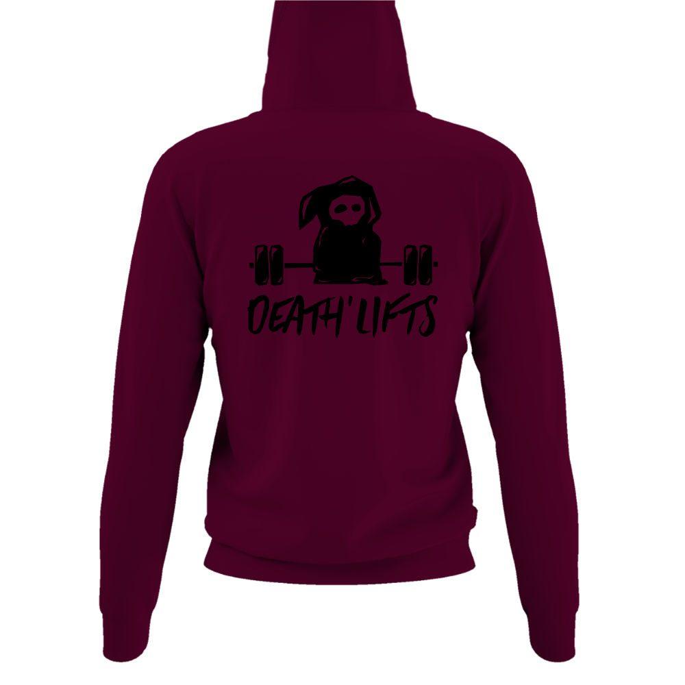 deathlifts hoodie damen burgundy back