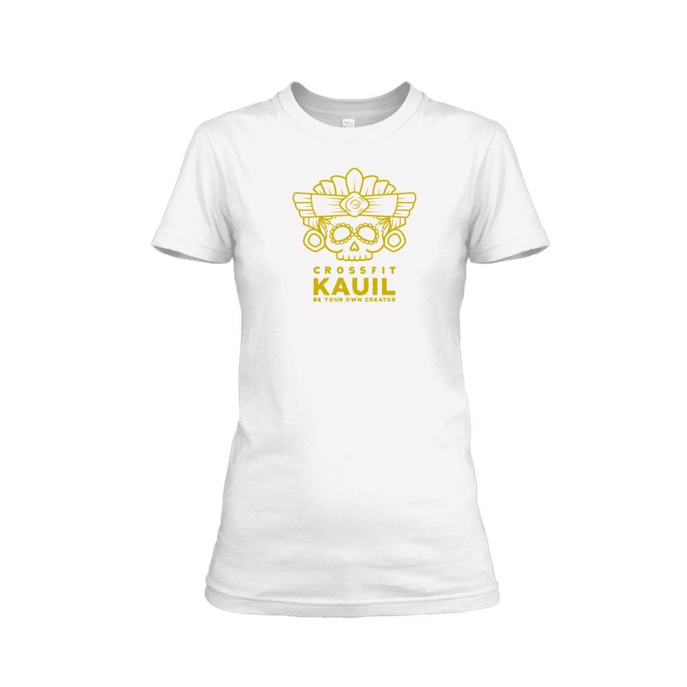 Damen Shirt REVERSED weiss gold front