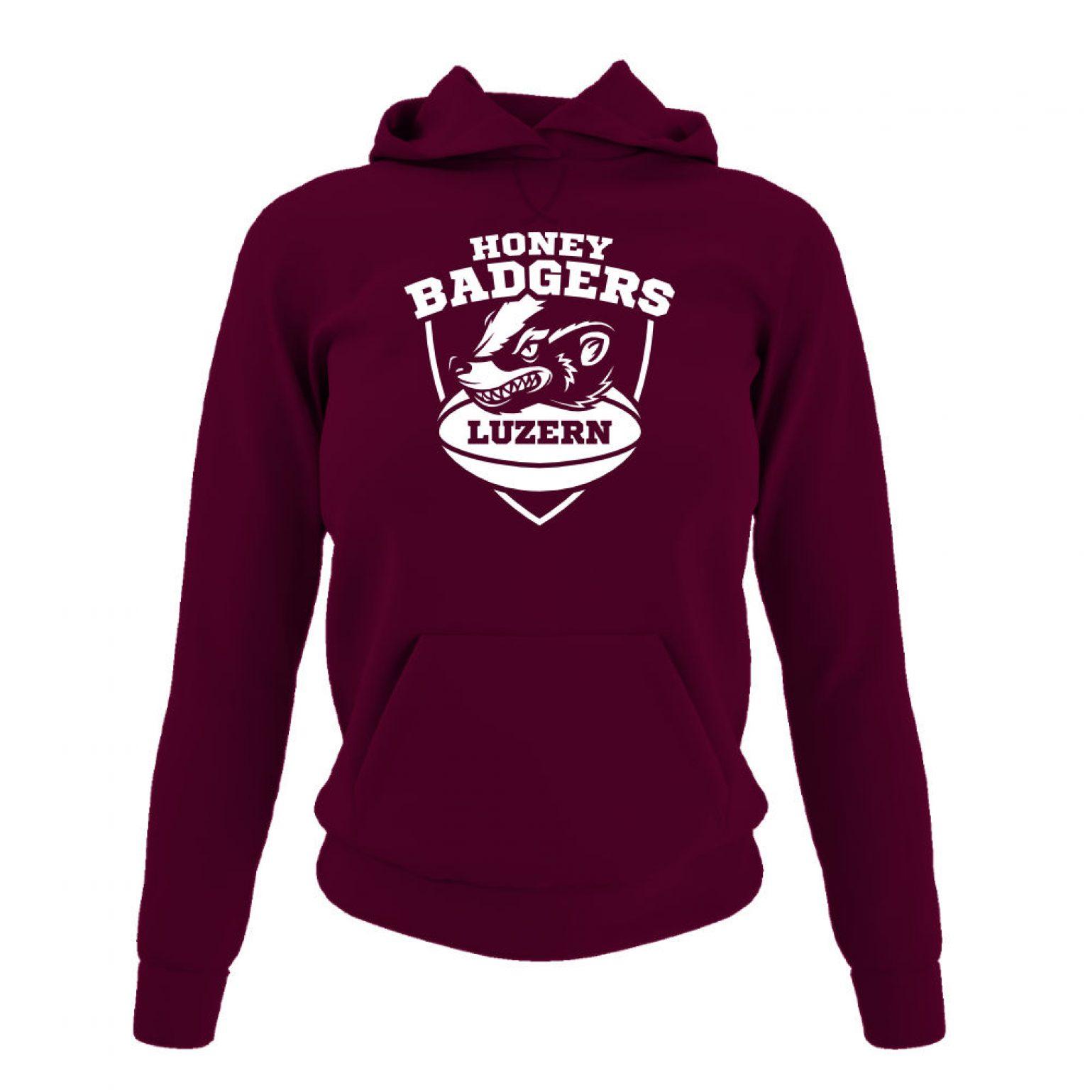 Honeybadgers hoodie damen burgundy