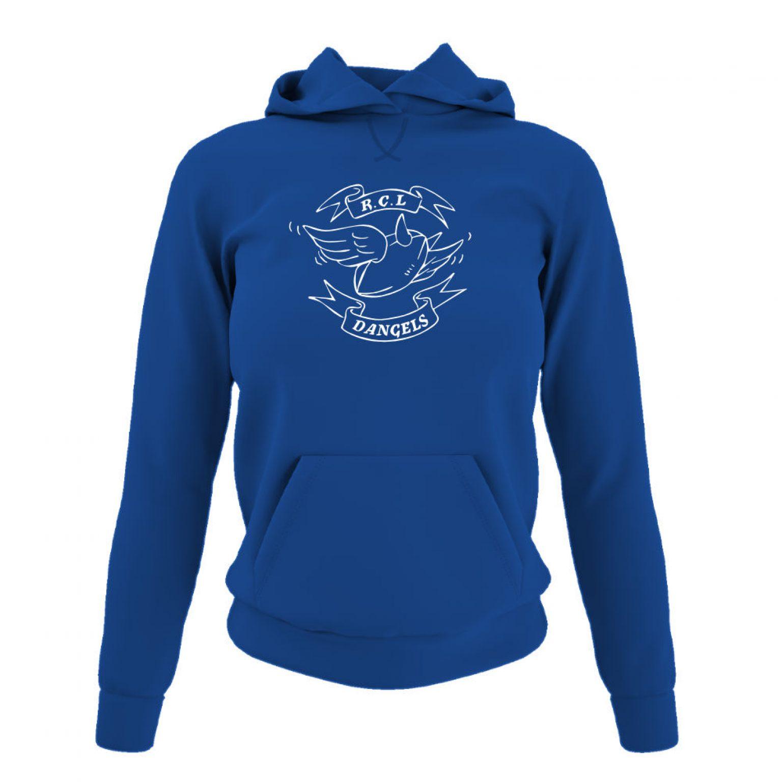 dangelsclassic damen hoodie blue front