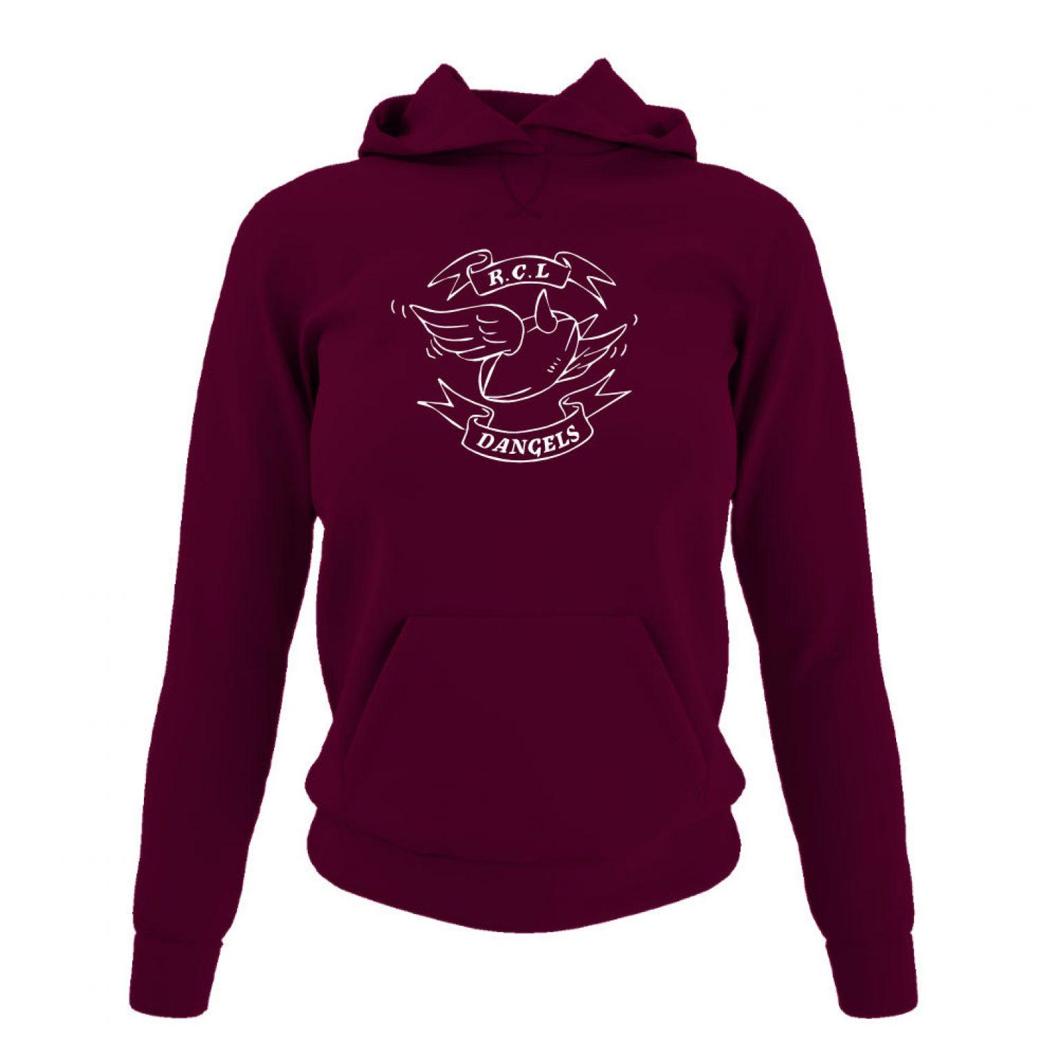 dangelsclassic damen hoodie burgundy front
