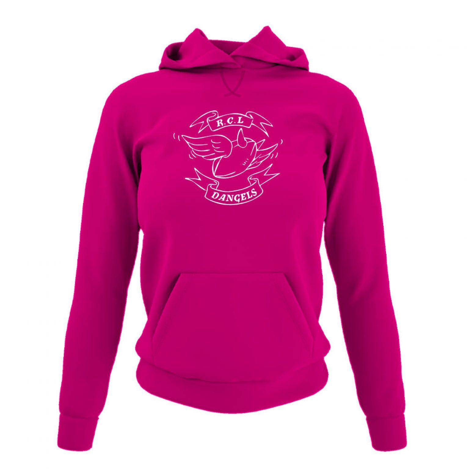 dangelsclassic damen hoodie fuchsia front