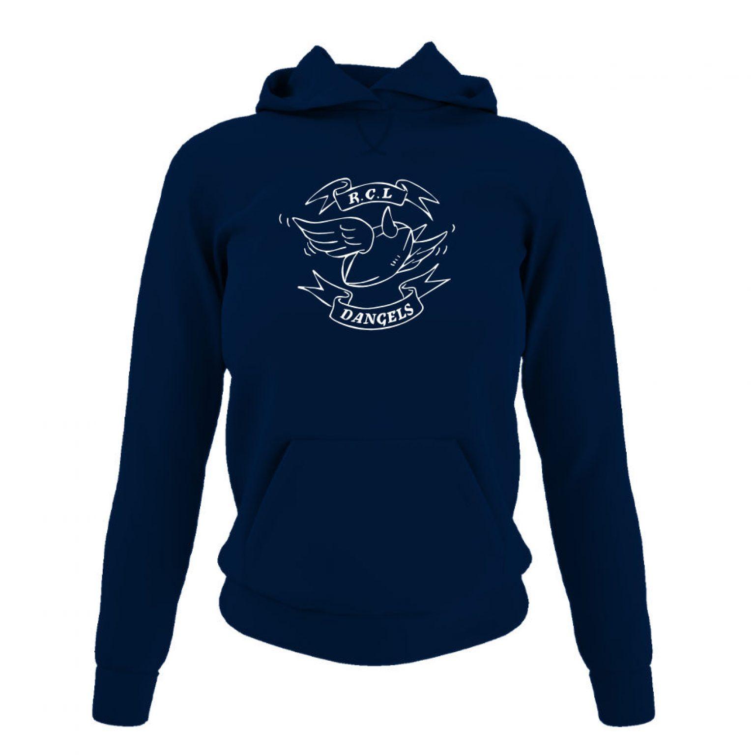 dangelsclassic damen hoodie navy front