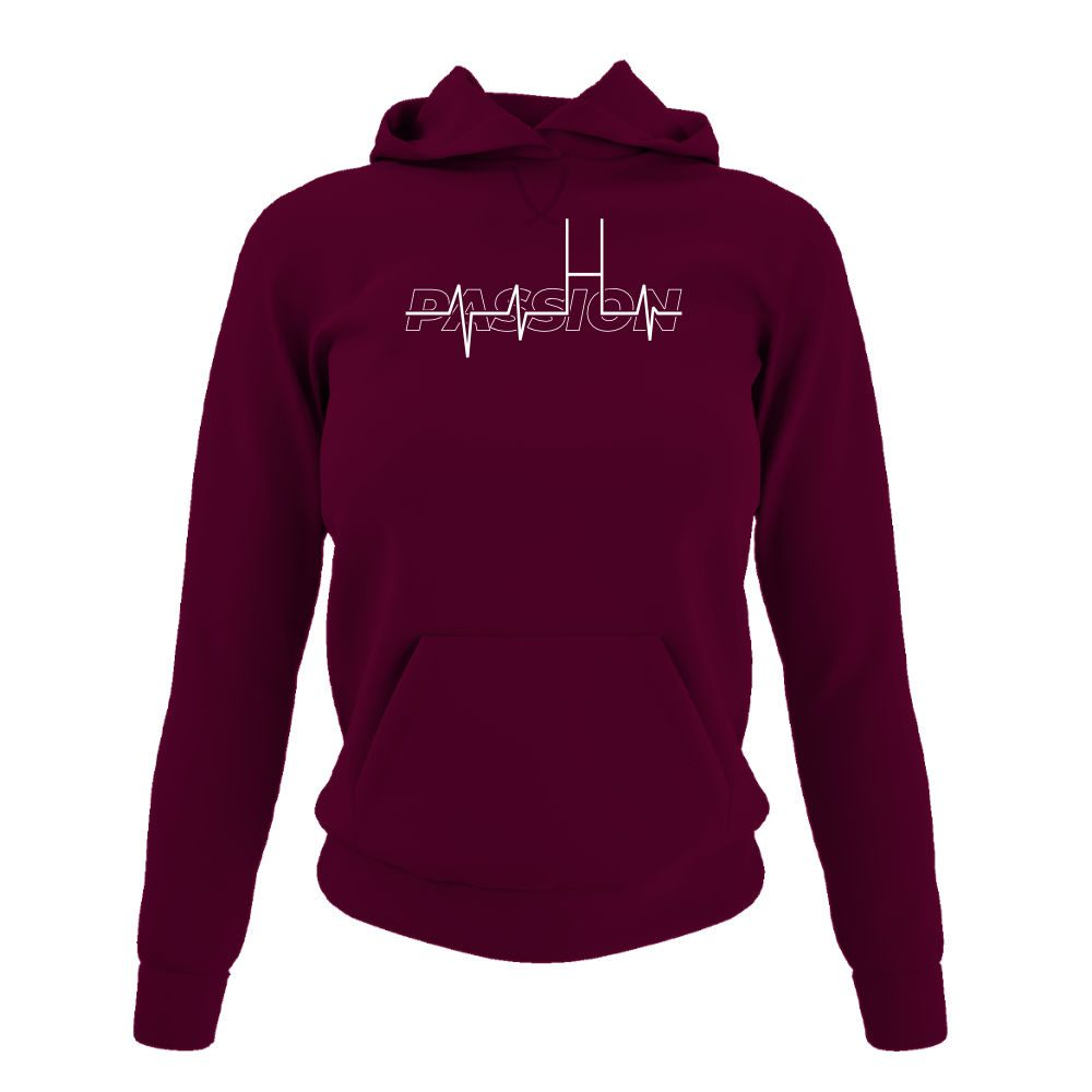 passion hoodie damen burgundy front