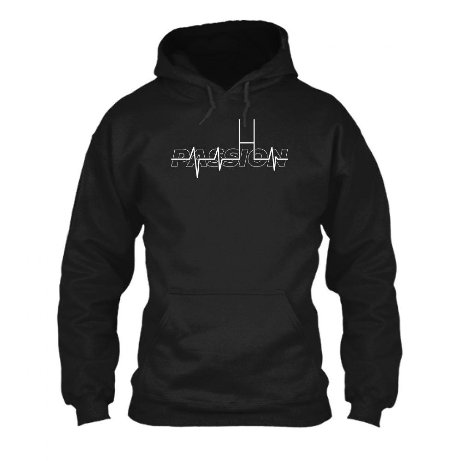 passion hoodie herren black front
