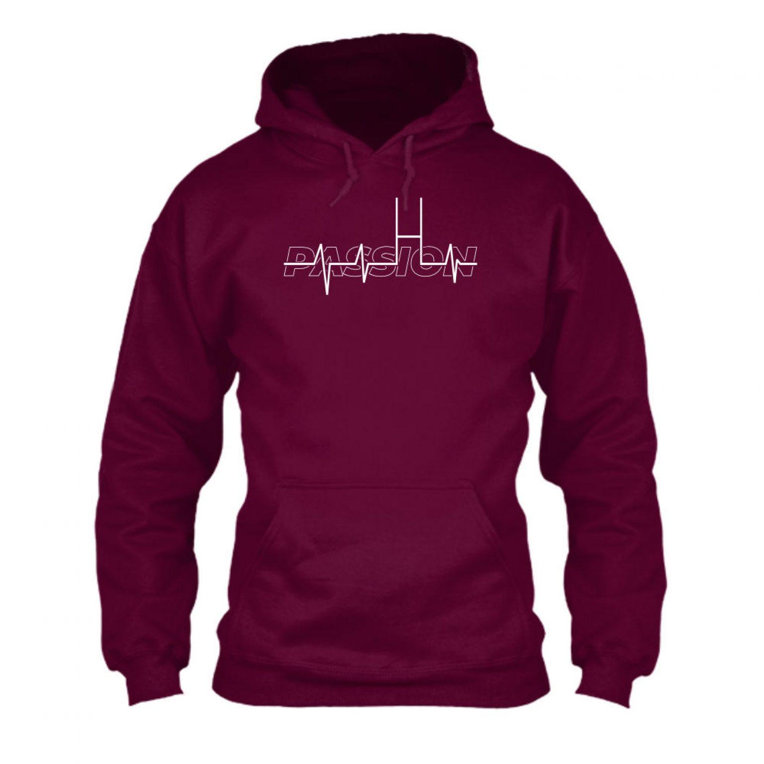 passion hoodie herren burgundy front