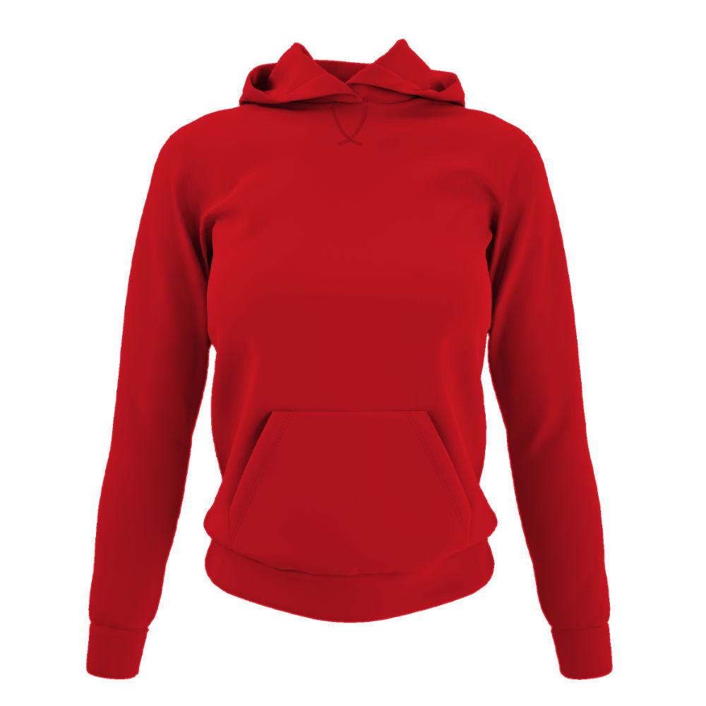 Damen hoodie red front