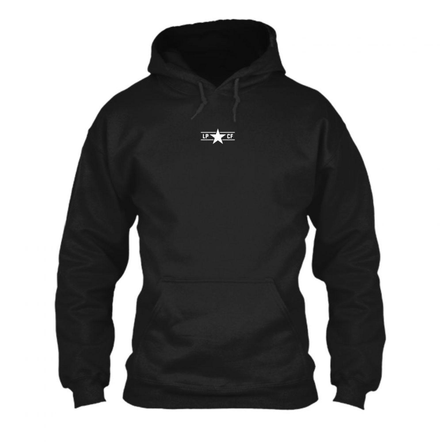 LPcircle hoodie black front
