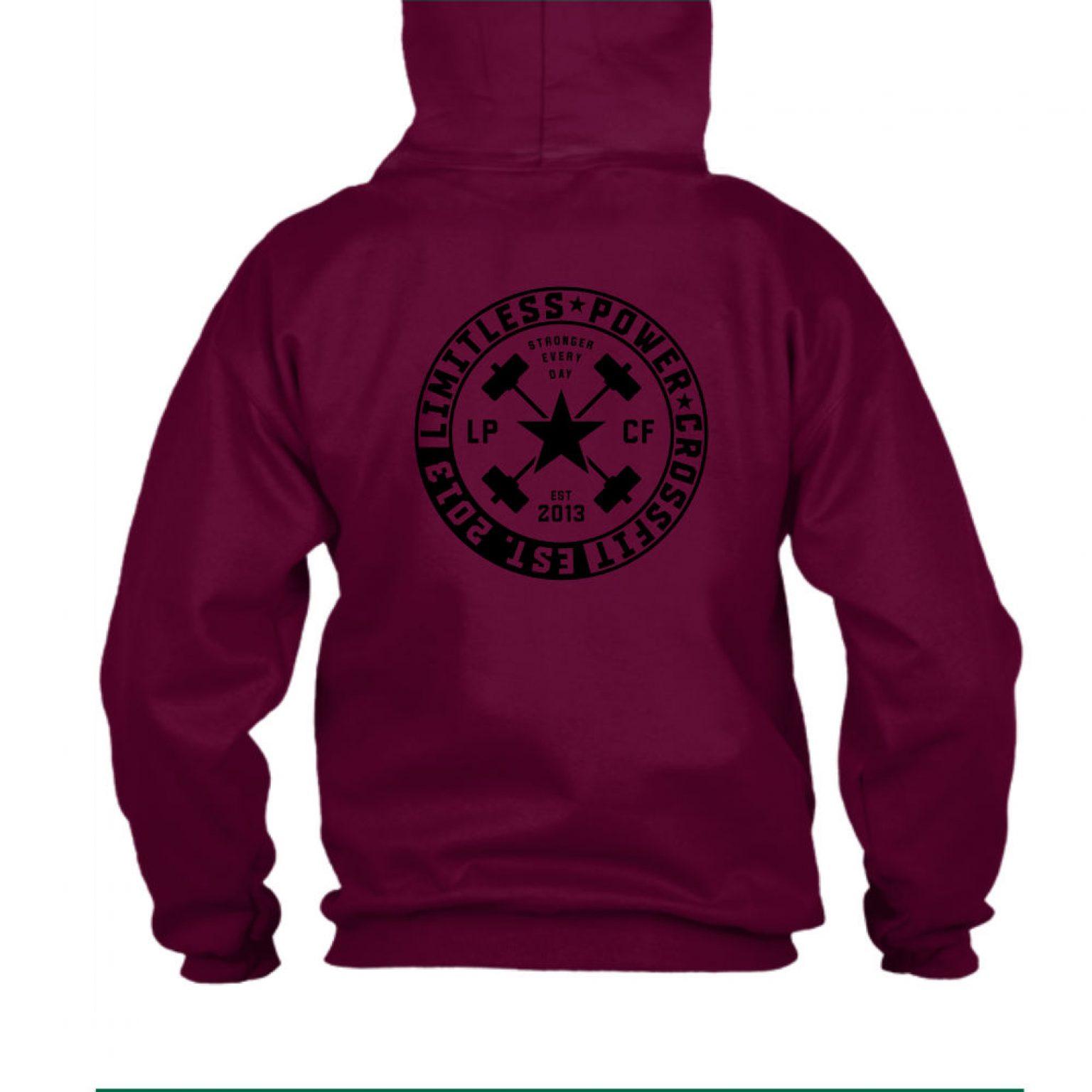 LPcircle hoodie burgundy back