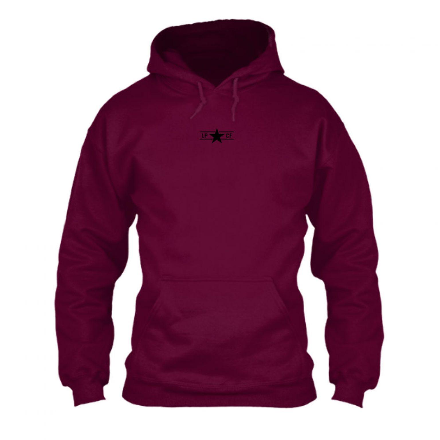 LPcircle hoodie burgundy front