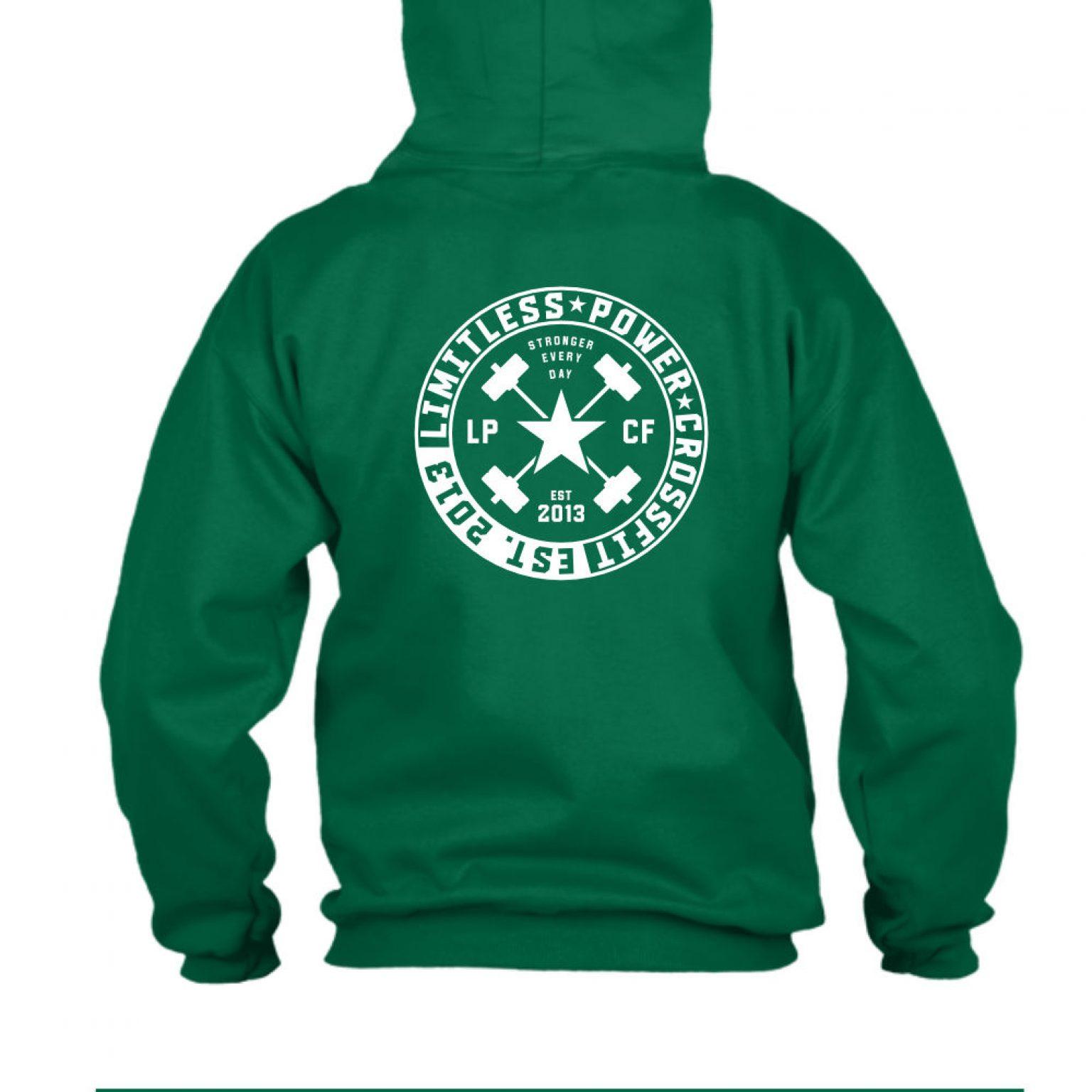 LPcircle hoodie green back