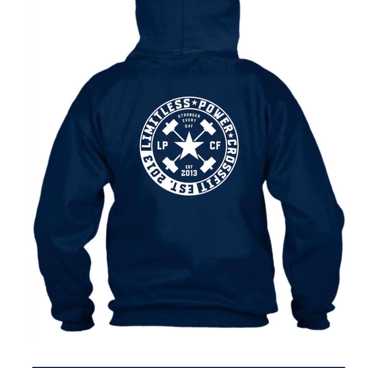 LPcircle hoodie navy back