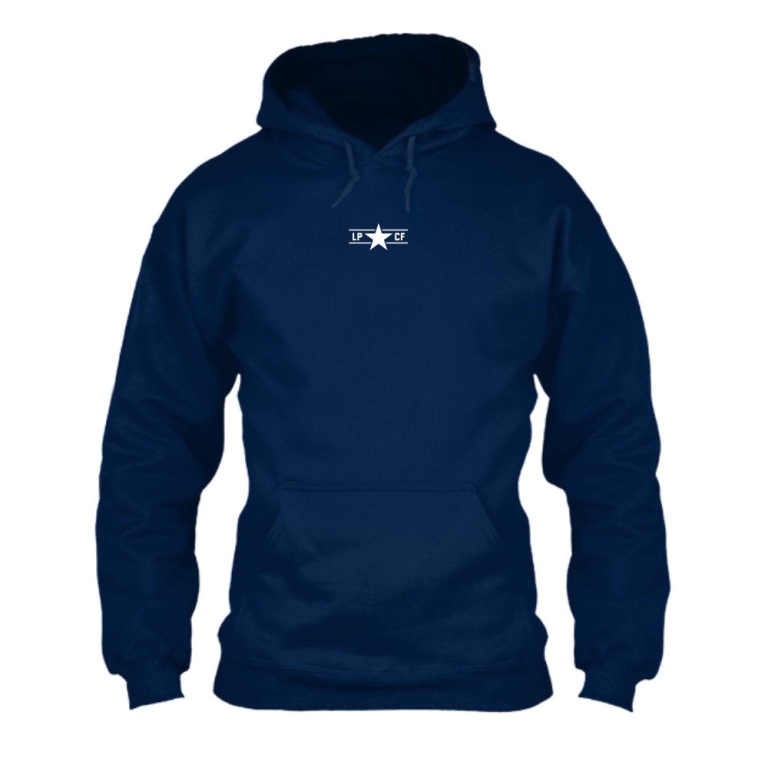 LPcircle hoodie navy front